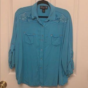Blue Western Style Blouse